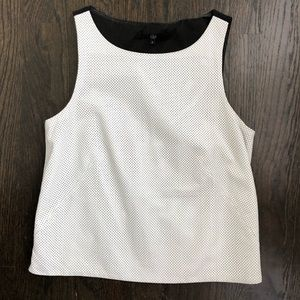 Tibi white perforated leather sleeveless crop top